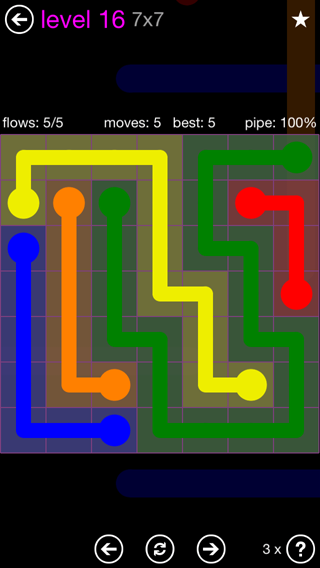 Solution and Answer to the Puzzle for Flow 7mania Pack Set 7x7 Level 16
