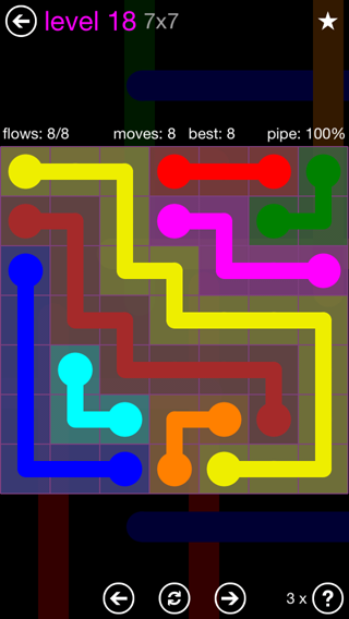 Solution and Answer to the Puzzle for Flow 7mania Pack Set 7x7 Level 18