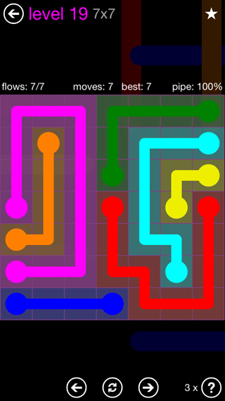 Solution and Answer to the Puzzle for Flow 7mania Pack Set 7x7 Level 19