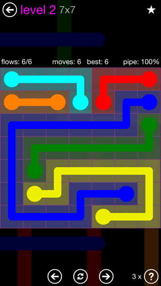 Solution and Answer to the Puzzle for Flow 7mania Pack Set 7x7 Level 2