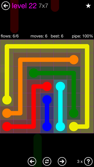 Solution and Answer to the Puzzle for Flow 7mania Pack Set 7x7 Level 22