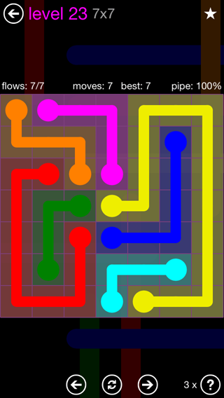 Solution and Answer to the Puzzle for Flow 7mania Pack Set 7x7 Level 23