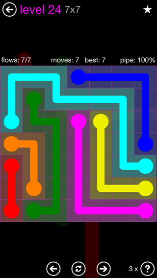 Solution and Answer to the Puzzle for Flow 7mania Pack Set 7x7 Level 24
