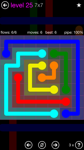 Solution and Answer to the Puzzle for Flow 7mania Pack Set 7x7 Level 25