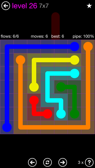 Solution and Answer to the Puzzle for Flow 7mania Pack Set 7x7 Level 26