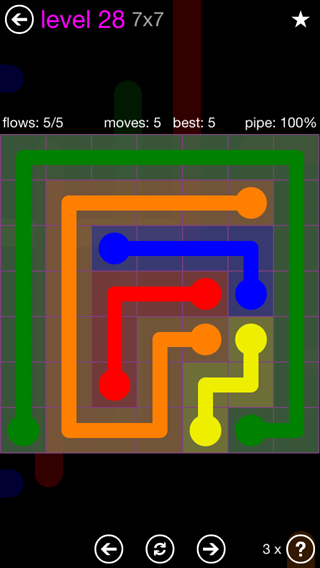 Solution and Answer to the Puzzle for Flow 7mania Pack Set 7x7 Level 28