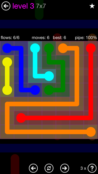Solution and Answer to the Puzzle for Flow 7mania Pack Set 7x7 Level 3