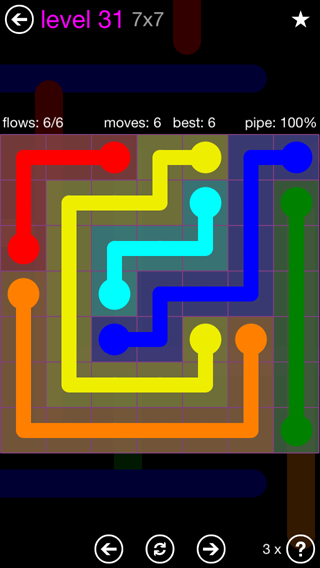 Solution and Answer to the Puzzle for Flow 7mania Pack Set 7x7 Level 31