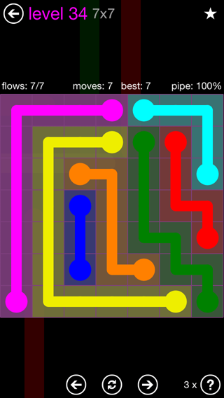 Solution and Answer to the Puzzle for Flow 7mania Pack Set 7x7 Level 34
