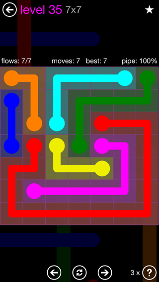 Solution and Answer to the Puzzle for Flow 7mania Pack Set 7x7 Level 35