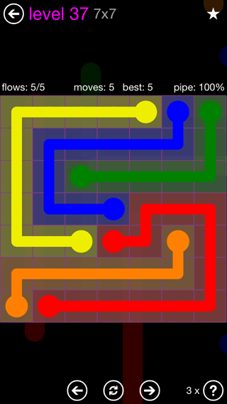 Solution and Answer to the Puzzle for Flow 7mania Pack Set 7x7 Level 37