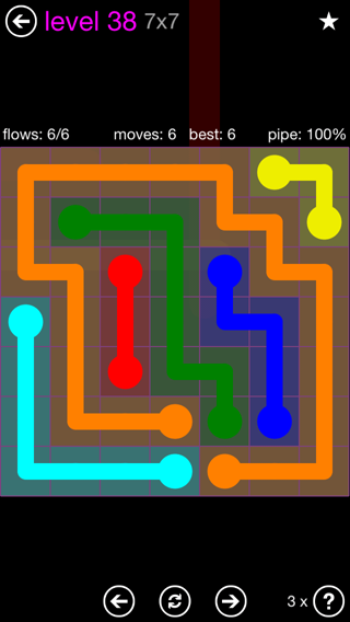 Solution and Answer to the Puzzle for Flow 7mania Pack Set 7x7 Level 38