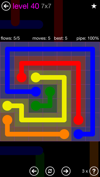 Solution and Answer to the Puzzle for Flow 7mania Pack Set 7x7 Level 40