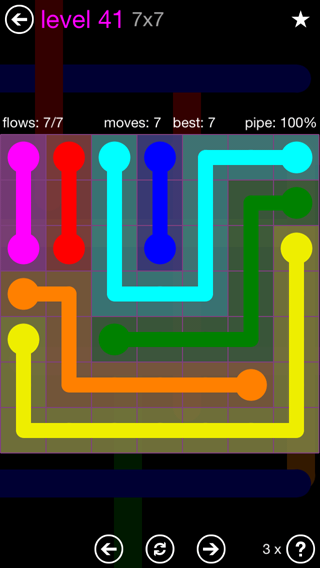 Solution and Answer to the Puzzle for Flow 7mania Pack Set 7x7 Level 41