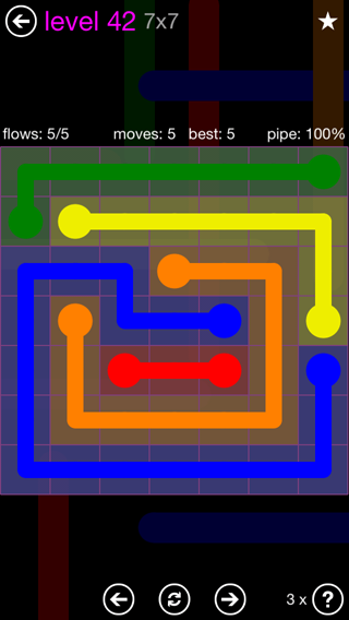 Solution and Answer to the Puzzle for Flow 7mania Pack Set 7x7 Level 42