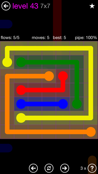 Solution and Answer to the Puzzle for Flow 7mania Pack Set 7x7 Level 43