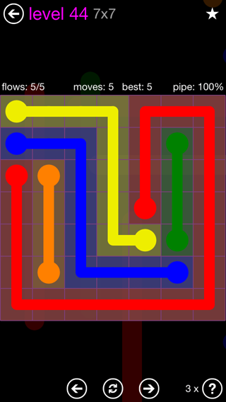 Solution and Answer to the Puzzle for Flow 7mania Pack Set 7x7 Level 44