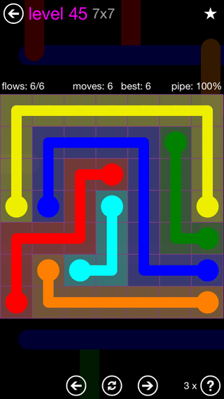 Solution and Answer to the Puzzle for Flow 7mania Pack Set 7x7 Level 45