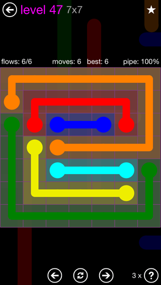 Solution and Answer to the Puzzle for Flow 7mania Pack Set 7x7 Level 47