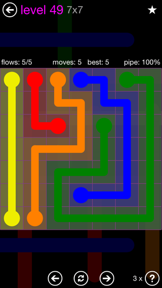 Solution and Answer to the Puzzle for Flow 7mania Pack Set 7x7 Level 49