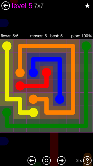 Solution and Answer to the Puzzle for Flow 7mania Pack Set 7x7 Level 5