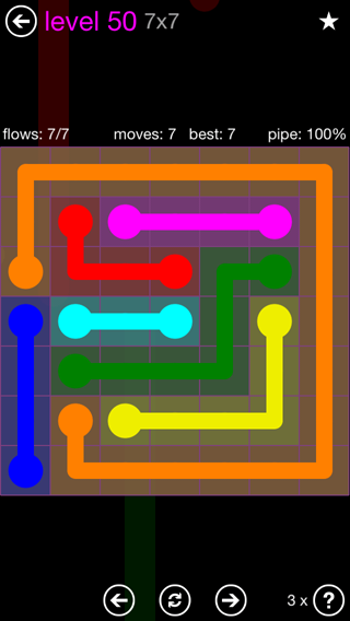 Solution and Answer to the Puzzle for Flow 7mania Pack Set 7x7 Level 50