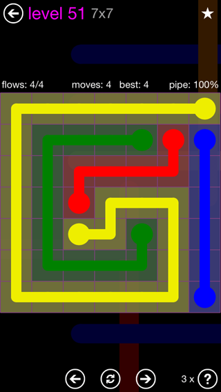 Solution and Answer to the Puzzle for Flow 7mania Pack Set 7x7 Level 51