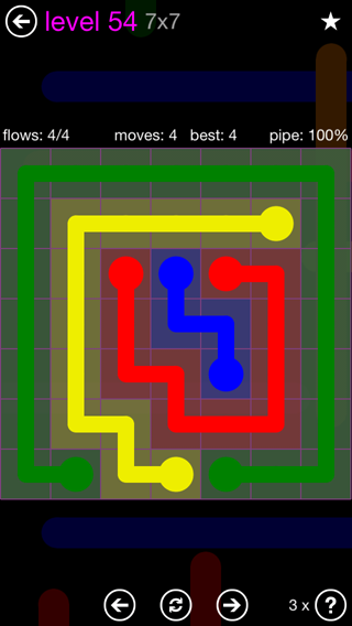Solution and Answer to the Puzzle for Flow 7mania Pack Set 7x7 Level 54