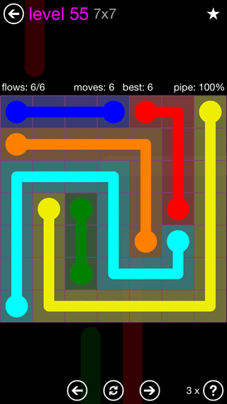 Solution and Answer to the Puzzle for Flow 7mania Pack Set 7x7 Level 55