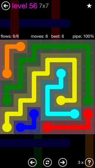 Solution and Answer to the Puzzle for Flow 7mania Pack Set 7x7 Level 56