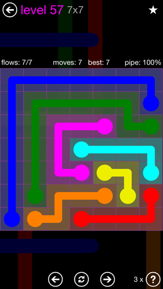 Solution and Answer to the Puzzle for Flow 7mania Pack Set 7x7 Level 57
