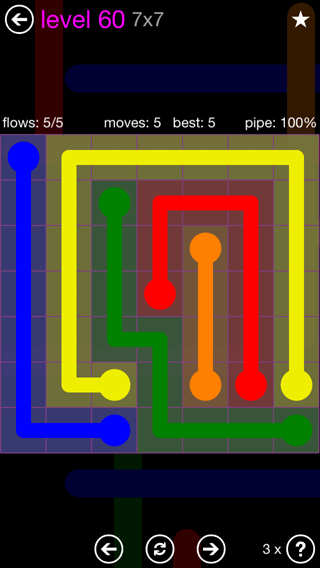Solution and Answer to the Puzzle for Flow 7mania Pack Set 7x7 Level 60
