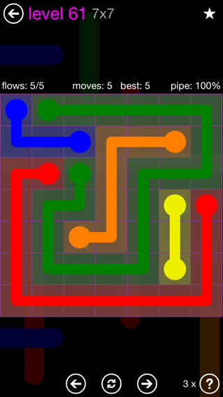 Solution and Answer to the Puzzle for Flow 7mania Pack Set 7x7 Level 61