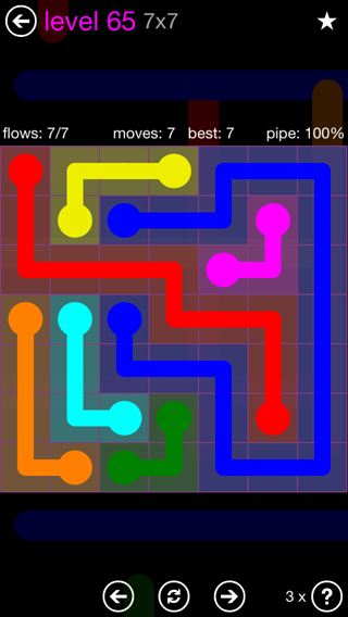 Solution and Answer to the Puzzle for Flow 7mania Pack Set 7x7 Level 65