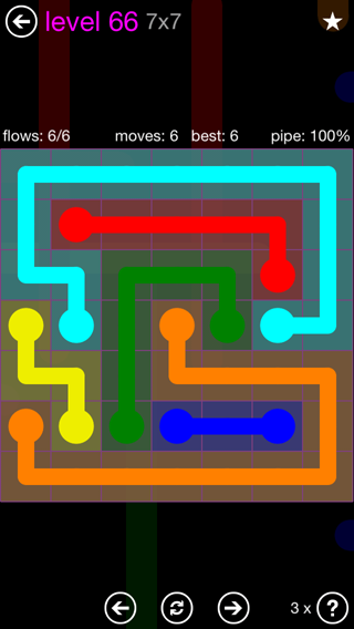 Solution and Answer to the Puzzle for Flow 7mania Pack Set 7x7 Level 66