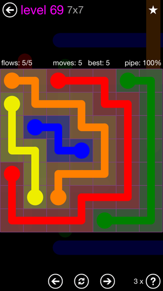 Solution and Answer to the Puzzle for Flow 7mania Pack Set 7x7 Level 69