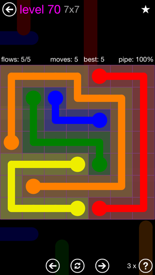 Solution and Answer to the Puzzle for Flow 7mania Pack Set 7x7 Level 70