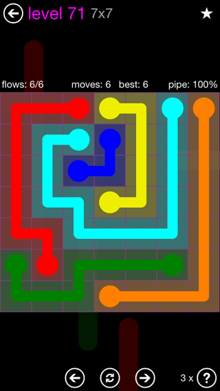 Solution and Answer to the Puzzle for Flow 7mania Pack Set 7x7 Level 71