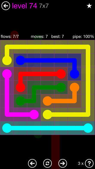 Solution and Answer to the Puzzle for Flow 7mania Pack Set 7x7 Level 74