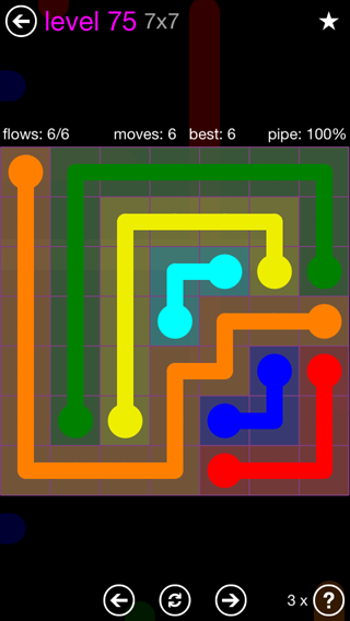 Solution and Answer to the Puzzle for Flow 7mania Pack Set 7x7 Level 75