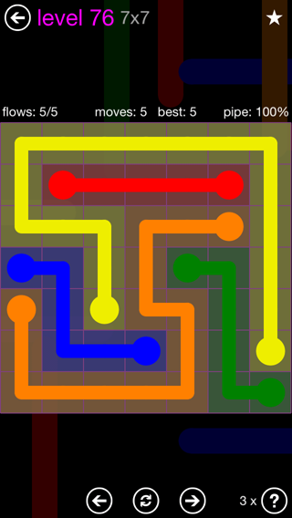 Solution and Answer to the Puzzle for Flow 7mania Pack Set 7x7 Level 76