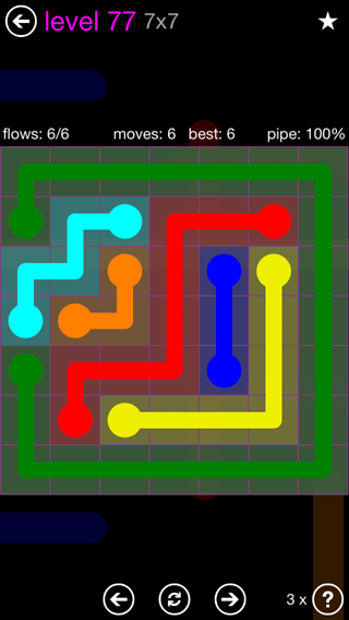 Solution and Answer to the Puzzle for Flow 7mania Pack Set 7x7 Level 77