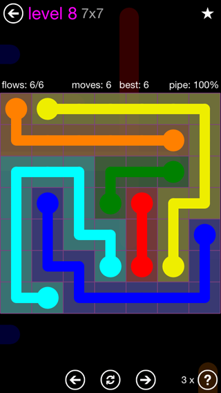 Solution and Answer to the Puzzle for Flow 7mania Pack Set 7x7 Level 8