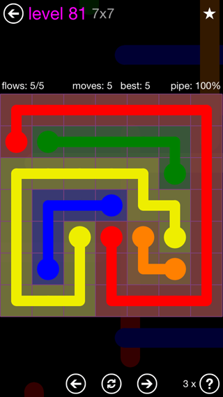 Solution and Answer to the Puzzle for Flow 7mania Pack Set 7x7 Level 81