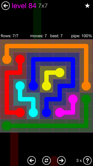 Solution and Answer to the Puzzle for Flow 7mania Pack Set 7x7 Level 84