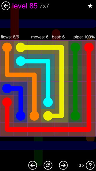 Solution and Answer to the Puzzle for Flow 7mania Pack Set 7x7 Level 85