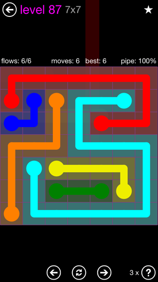 Solution and Answer to the Puzzle for Flow 7mania Pack Set 7x7 Level 87