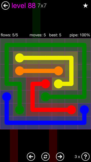 Solution and Answer to the Puzzle for Flow 7mania Pack Set 7x7 Level 88