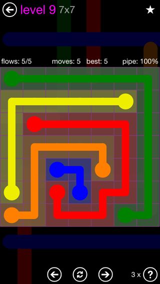 Solution and Answer to the Puzzle for Flow 7mania Pack Set 7x7 Level 9