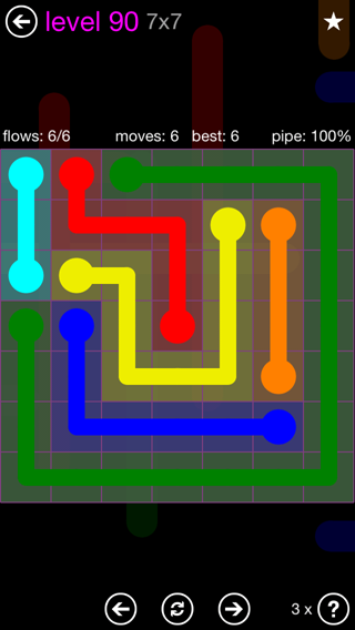 Solution and Answer to the Puzzle for Flow 7mania Pack Set 7x7 Level 90